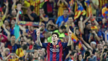 Lionel Messi celebrates after scoring a goal for Barcelona in the King's Cup (Photo: AP)