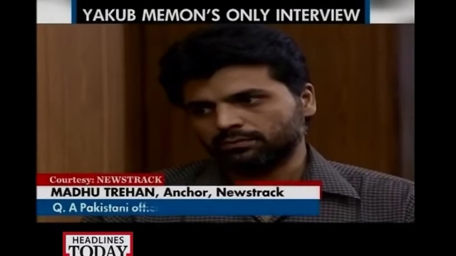 In his only video interview, Yakub Memon told Madhu Trehan that he came back to India just to prove that the Pakistan government, not the Memon family was behind the 1993 blasts. (Courtesy: Screengrab of Newstrack interview)