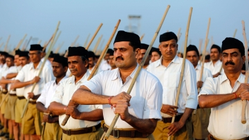 Volunteers of the Hindu nationalist organisation Rashtriya Swayamsevak Sangh (RSS).(Photo: Reuters)