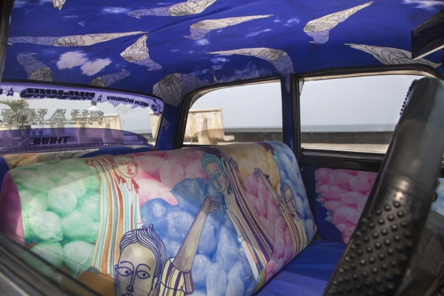 "Taxi designed by Gaurav Ogale Titled 'Cutting'. (<a href=""http://www.taxifabric.org/gauravogale"">Photo: taxifabric.org</a>)"