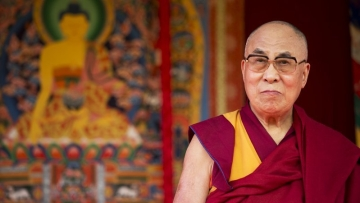 The Dalai Lama before making a speech in southern England on June 29, 2015.