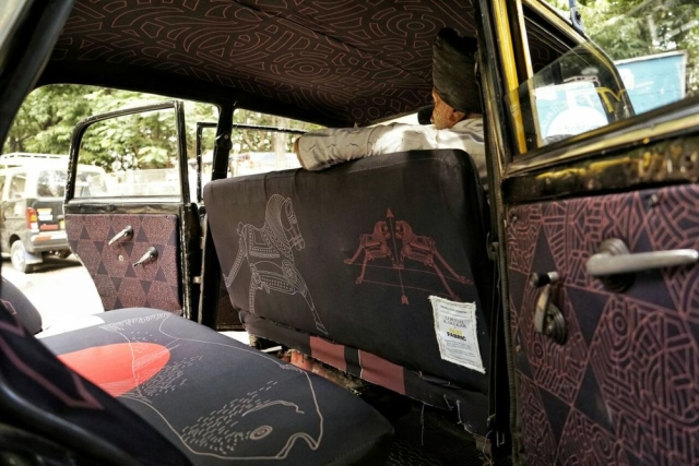 "Taxi designed by Lokesh Karekar. Titled 'From a Taxi Window'. (Photo: <a href=""http://www.taxifabric.org/lokeshkarekar"">taxifabric.org</a>)"