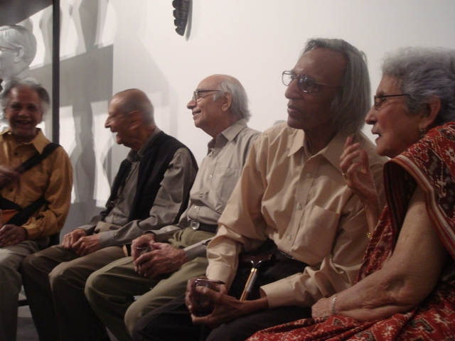"Tyeb Mehta, second from right. (Photo Courtesy: Facebook/<a href=""https://www.facebook.com/pages/Artist-through-the-lens/971453229549462?sk=photos_stream"">Artist through the lens</a>)"