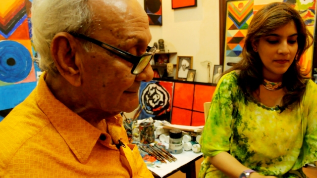 The writer with Raza in his studio. (Photo courtesy: Sahar Zaman)