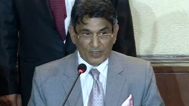 Justice RM Lodha delivering his verdict on IPL spot fixing and betting. (Photo: AP screengrab)