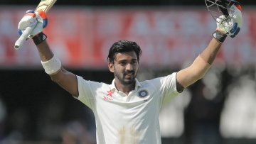 File photo of KL Rahul celebrating after scoring his second test century, in Colombo, against Sri Lanka.
