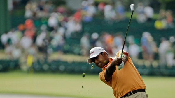 Anirban Lahiri in action during the final round of The Masters.