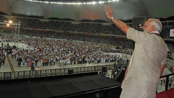 Prime Minister Narendra Modi at the Dubai Cricket Ground, August 17, 2015. (Photo courtesy: @narendramodi)
