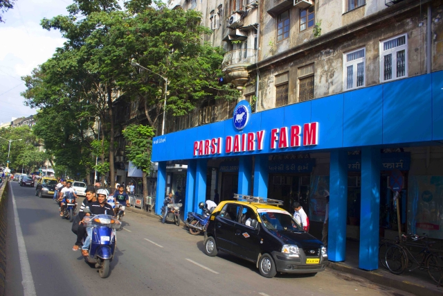 The facade of the Parsi Dairy Farm in South Mumbai