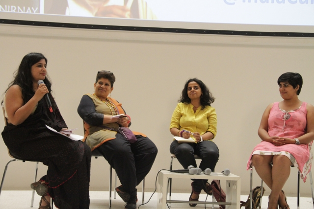 Nisha Susan moderates a panel discussion of feminism and documentary films with panelists Bishakha Dutta, Navneetha Mokkil, and Deepanjana Pal. (Photo: Godrej Culture Labs)