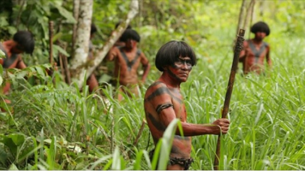 Amazonian tribals in a scene from the controversial Eli Roth film, <i>The Green Inferno.</i>