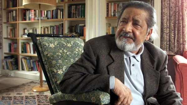 File image of British author VS Naipaul at his UK home, 11 October  2001, after it was announced that he has been awarded the Nobel Prize for Literature.