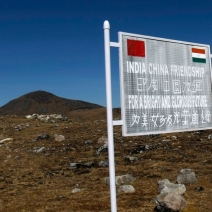 A signboard seen from the Indian side of the India-China border.