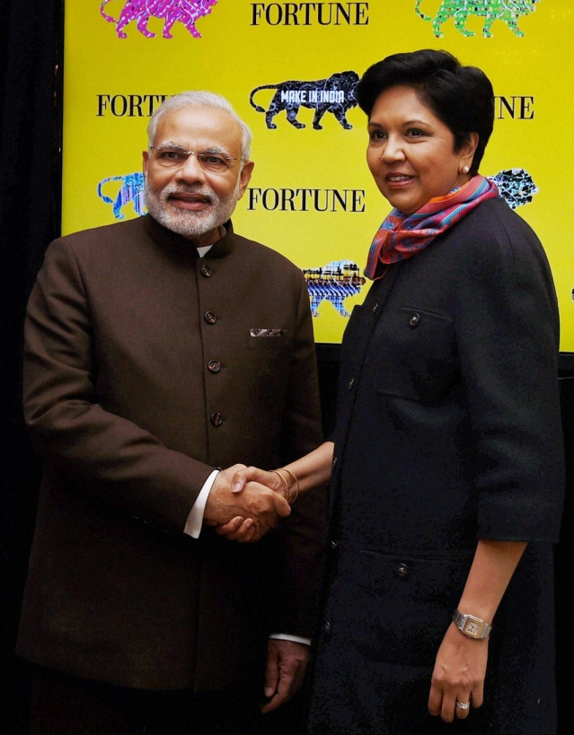 Prime Minister Narendra Modi shakes hand with PepsiCo Chairman and CEO Indra Nooyi during a meeting in New York on Thursday. (Photo: PTI)
