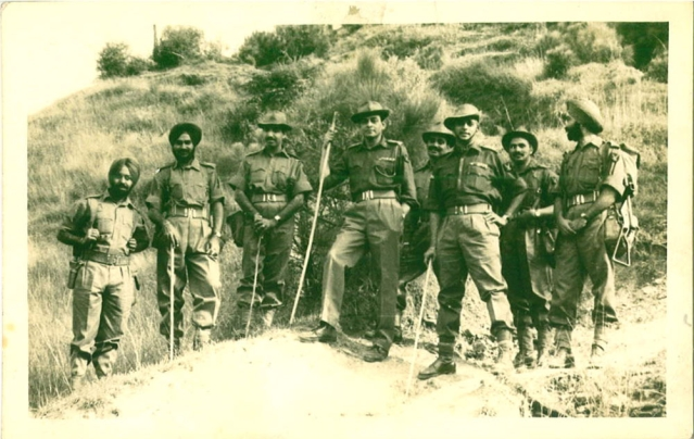 Lt Col PR Jesus (standing 3rd from right) at an unknown location with members of his army unit. (Photo: Rohit Khanna)