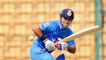 Suresh Raina plays a shot during the 2nd unofficial ODI against Bangladesh A. (Photo: PTI)
