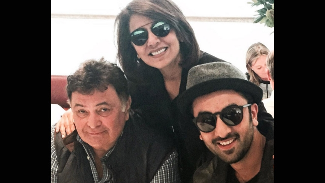 Neetu Singh Kapoor along with Rishi and Ranbir Kapoor.
