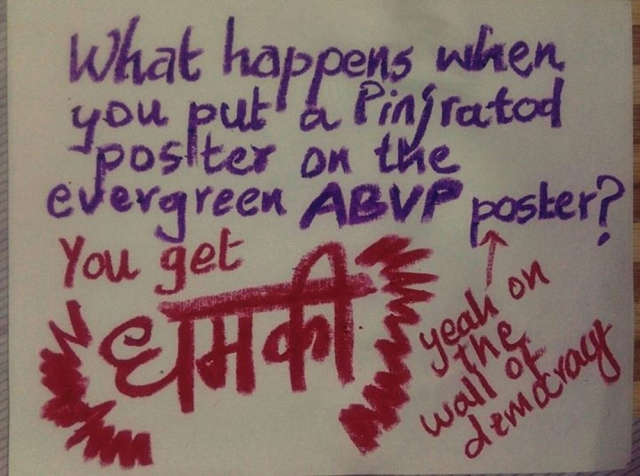 "#PinjraTod points out the hypocrisy of ABVP. (Photo: Facebook/<a href=""http://https://www.facebook.com/pinjra.tod.3?fref=ts"">Pinjra Tod</a>)"