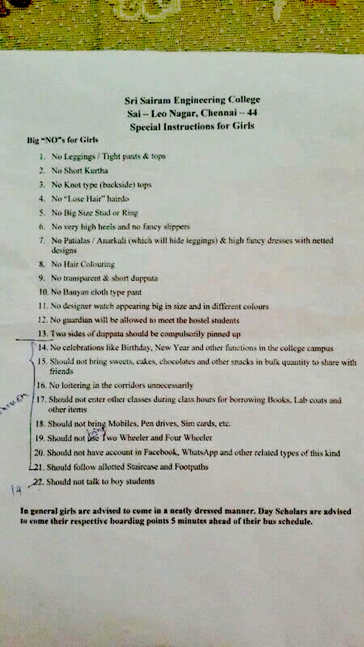 Circular with Regressive Rules for Girl Students Goes Viral