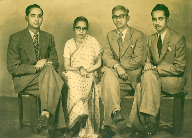Jesus Prakash Rao (left), his mother, his father and his brother, Shah Jahan Prakash Rao. Hyderabad, 1952. (Photo: Rohit Khanna)