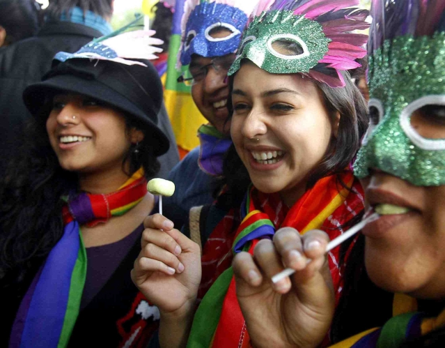 Participants take part in a gay pride parade in New Delhi (Photo: Reuters)