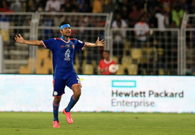 Keenan Almeida celebrates his first goal for FC Goa. (Photo: Indian Super League)