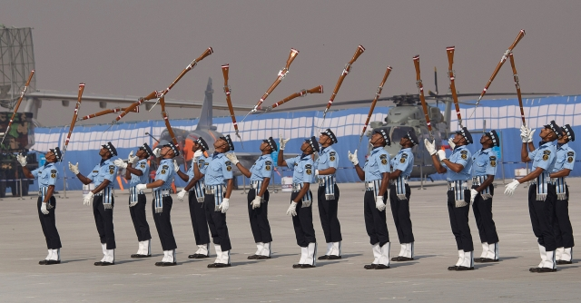 Indian Air Force Air Warrior Drill team display their skills during the Air Force Day parade. (Photo: AP)