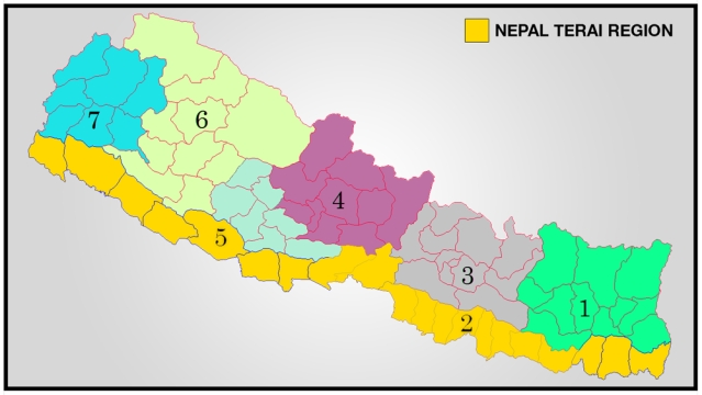 Map of Nepal with Terai region marked out as Province 2 and 5