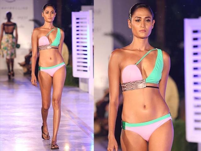 A Shivan and Narresh colour blocked bikini with leather panels. (Photo: Shivan and Narresh)