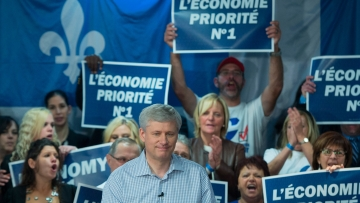 Conservative leader Stephen Harper attends a campaign event in Trois-Rivieres, Quebec, Canada on Thursday, 15 October 2015. (Photo: AP)