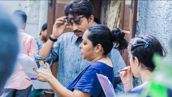 Irrfan Khan and Meghna Gulzar on the sets of <i>Talvar.</i>