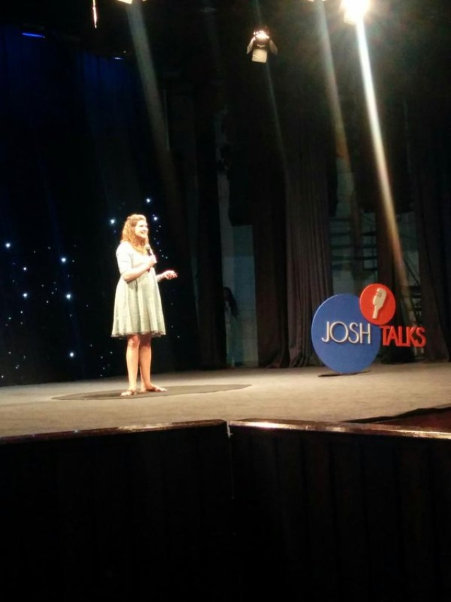 Kristin Braddock addressing the audience at Josh Talks India. (Photo: The Quint)