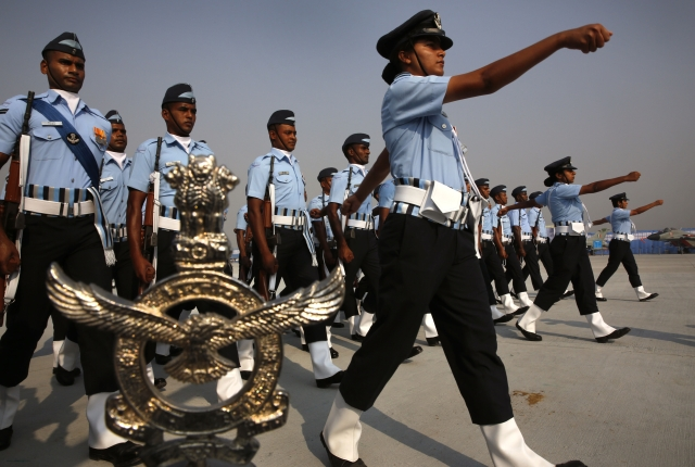 Indian Air Force women officers lead a marching contingent during the Indian Air Force Day parade. (Photo: AP)