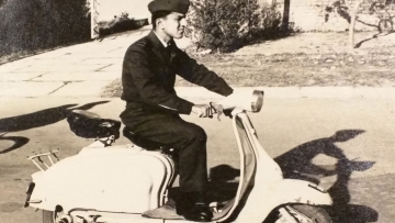 Air Vice Marshal Kamal Khanna, riding his Lambretta in the late '60s. He was a Flight Lieutenant then. (Photo: Rohit Khanna/The Quint)
