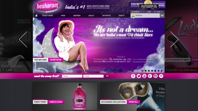 """""""www.imbesharam.com"""" – apparently India's first online sex toys store."""