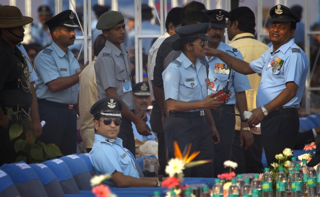 Former Indian cricketer and honorary Indian Air Force officer Sachin Tendulkar (seated) attends the Air Force Day parade at the Hindon Air Force base near New Delhi. (Photo: AP)