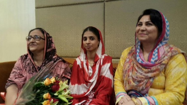 Geeta (centre) returned to India from Pakistan in 2015 after accidentally landing in the latter country as a child.