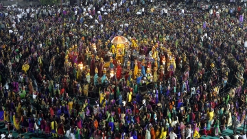 File image of garba during the celebrations to mark the Navratri festival in Gujarat.