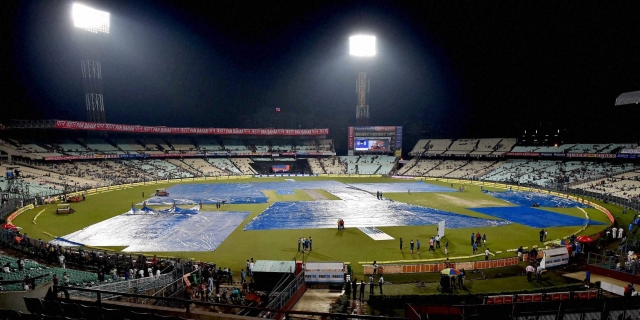 Covers put in place at Eden Garden as it rains before the start of 3rd T20 (Photo: PTI)