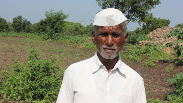 Gopinath Vithoba Bhondve, 56, of village Ukhanda in Beed district's Patoda taluk has gone for soy farming.  (Photo: Vivian Fernandes)