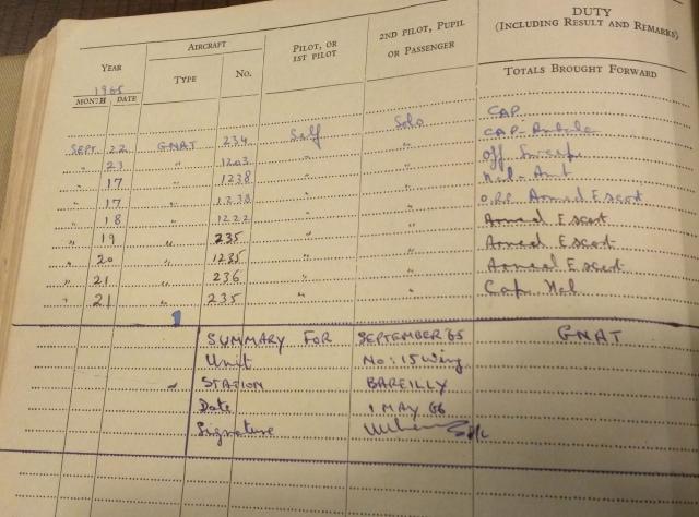 Crucial page from Flt Lt Kamal Khanna's Flying Log Book - 20 Sept 1965. '1235 Hours, Armed Escort.'