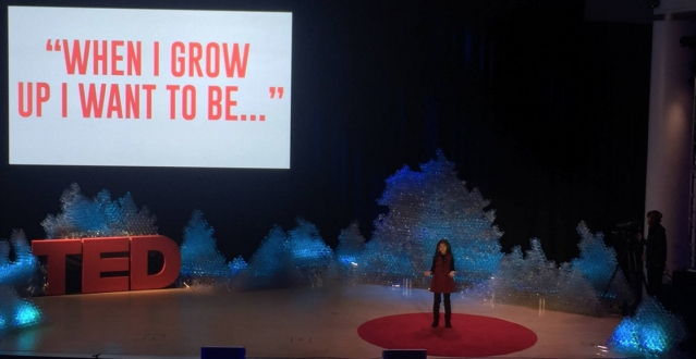Ishita delivered a 4-minute talk on 'What do you want to be now', which ended in loud applause from the audience in New York. (Photo: Facebook/Ishita Katyal)