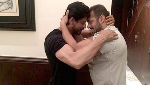 Shah Rukh Khan and Salman Khan wrestle on SRK's 50th birthday.