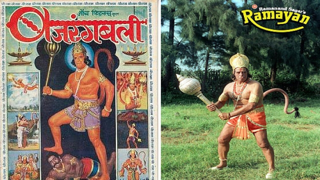 (L-R) The poster of the film Bajrangbali and the popular TV serial Ramayana.