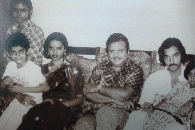 "Gemini Ganesan seen here with Rekha and Kamal Haasan (Photo: Twitter/<a href=""https://twitter.com/TheRekhaFanclub"">@TheRekhaFanclub</a>)"