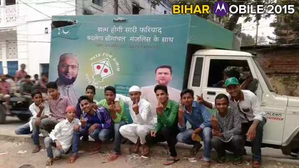 Voters in front of the AIMIM campaign truck (Photo: The Quint)