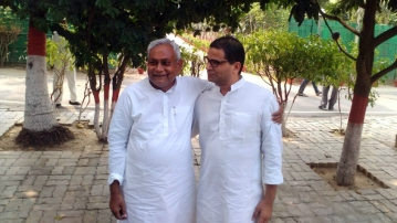 "Nitish Kumar with Prashant Kishor after the trends made it clear that JDU+ would come out as the clear winner. (Photo: <a href=""https://twitter.com/SanjayBragta/status/663282131662188544"">Twitter</a>)"