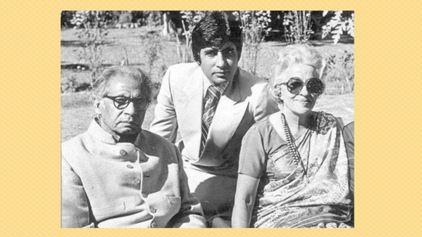 Harivansh Rai Bachchan with his wife Teji and son Amitabh Bachchan.