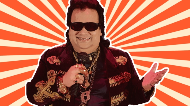 Bappi Lahiri on Cloud 9. (This photo has been edited by <b>The Quint</b>)