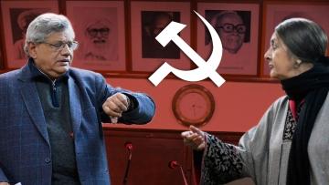 CPI(M) General Secretary Sitaram Yechury and party leader Brinda Karat. (Photo: Rahul Gupta/<b>The Quint</b>)